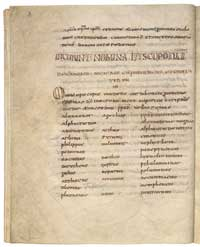 A page fromt he 'Canones concillorum,' written in both unical and miniscule.(View Larger)
