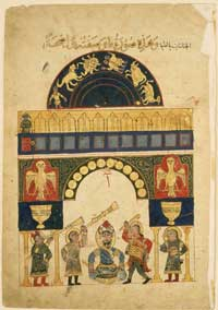 A depiction of the Castle Water Clock from al-Jazari's 'Book of Knowledge of Ingenious Mechanical Devices.' This manuscript is preserved at the Museum of Fine Arts in Boston. (View Larger)