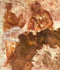 The oldest known image of the Virgin Mary, located in the Cacomb of Priscilla on the Via Salaria in Rome. (View Larger)