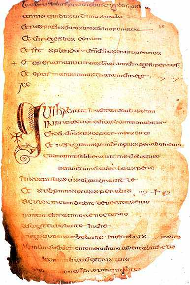 A page from the Cathach of St. Columba. (View Larger)