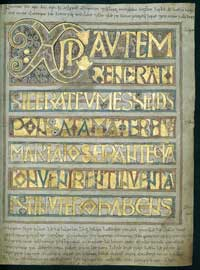 Folio 11 of the Codex Aureus, inscribed in Old English. (View Larger)