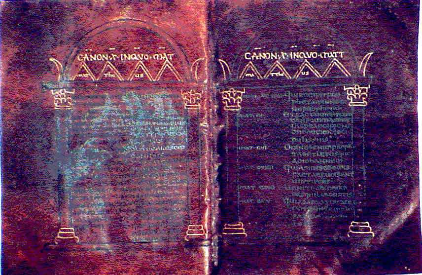 Canon tables from Codex Brixianus. (View Larger)