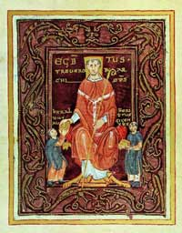 A portrait of Egbert, Archbishop of Trier, from the Codex Egberti. (View larger)