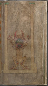 The famous Devil, on folio 290r of the Codex Gigas, responsible for the ominous epithet, 'Devil's Bible.' (View Larger)