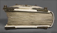 A side-view of Codex Gigas, which is 22cm thick. (View Larger)