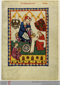 Folio 323r of Codex Manesse: a portrait of Reinmar dictating poetry scribes, one of which bears a wax tablet. (View Larger)