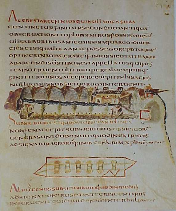 A page from Corpus Agrimensorum Romanorum, depicting a perspective of a house and the boundaries of the property on which it was built. (View Larger)