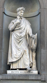 A statue of Dante at the Uffizi. (View Larger)
