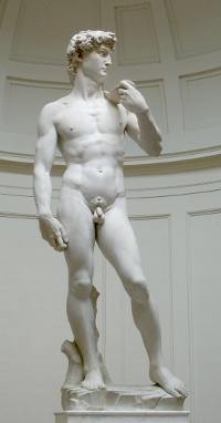 Michelangelo's marble 'David,' symbol of the Florentine Renaissance, depicts the biblical hero holding rock and sling, his right hand intentionally enlarged to show the power of God acting through him. (View Larger)