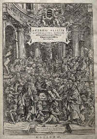 The title page of Andreas Versalius' 'De humani corporis fabrica libri septem,' published in 1543, was a revolutionary work of unmatched scientific and artistic precision.  (View Larger)