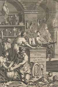 The frontispiece of a 1709 edition of De re coquinaria. (View Larger)