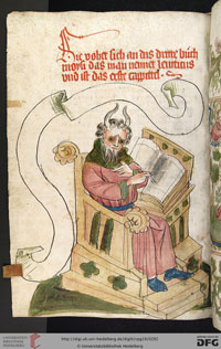 An image of Moses from the Book of Leviticus: folio 141v of a manuscript bible produced in the workshop of the scribe Diebold Lauber. (View Larger)