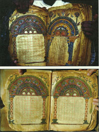 The manuscript before and after restoration and repagination. Image from June 2010 edition of The Arts Newspaper. (View Larger)