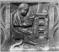The earliest depiction of a Roman book cabinet. (View Larger)