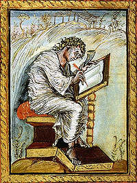 A portrait of Matthew from the Ebbo Gospels. (View Larger)