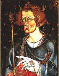 Edward I, portrayed in the stained glass of Westminster Abbey.