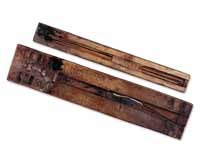 Two Egyptian scribal palettes preserved in the British Museum. (View Larger)