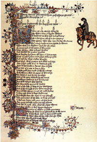 The opening of 'The Knight's Tale' in the Ellesmere Chaucer. (View Larger)