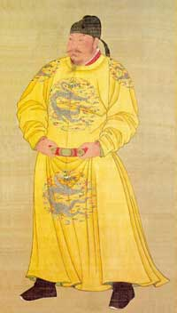 A portrait of emperor Taizong of Tang on a hanging silk scroll, currently preserved in the National Palace Museum in Taipei. (View Larger)