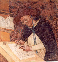 The first depiction of spectacles in art: a portrait of Cardinal Hugo of Provence at his writing desk, painted by Tommaso de Mondena in fresco in the Basilica San Nicolo in Treviso, Italy. (View Larger)