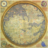 The Fra Mauro map, created by the monk around 1450, is oriented with the South at the top, and depicts Asia, Africa, and Europe. The artistry is exceptionally detailed, and quite acurate for its time. (View Larger)