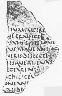 The fragment of De Bellis Macedonicis, the oldest suriving remains of a Latin manuscreipt written on parchment rather than papyrus. (View Larger)