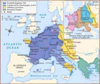 A map illustrating the breadth of the Frankish Empire before and after Charlemagne's rule. (View Larger)