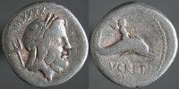 A coin depicting the profile and birth of Gaius Asinius Pollio. (View Larger)