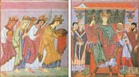 A pair of facing paintings showing the peoples of the world adoring Otto III, from the Goespels of Otto III. (View Larger)