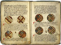 The Göttingen Model Book, dating to the mid-15th century, contains instructions for the ornamentation of books and the creation of pigments. These methods can be seen in practice in several early Gutenberg Bibles. (View Larger)