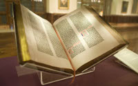 The 42-line Gutenberg Bible, completed in in 1456 by Johannes Gutenberg, Johann Fust & Peter Schöffer, is the earliest European book printed from movable type, by a process of Gutenberg's own invention. (View Larger)