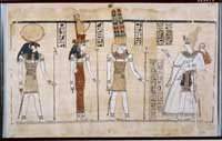 A papyrus of the 'Discourse of the Gods' section of the Great Harris Papyrus, showing Ramesses III before the Triad of Thebes. (View Larger)
