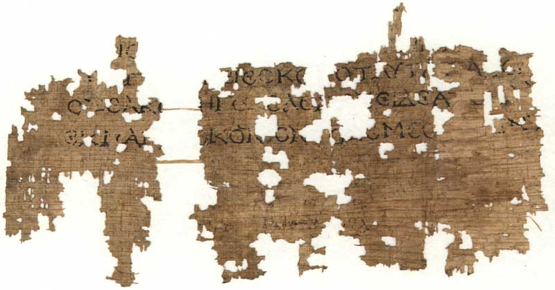 Recto of papyrus containing lines from Homer's Illiad, found at Hawara. (View Larger)