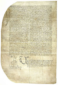 The notarial document, drafted by Ulrich Helmasperger, clerk of the Bishopric of Bamberg, royal notary and certified public recorder at the Court of the Archbishop of Mainz, which provides the only contemporary account of the suit filed by Fust against Gutenberg. (View Larger)