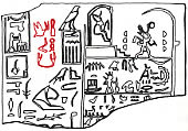 The hieroglyphic name of Hemaka, highlighted in red.