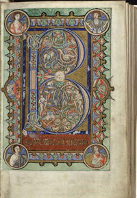 Folio 22r of the Hungarian Psalter, a miniature which incorporates the Beatus Initial. (View Larger)