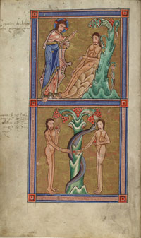 Folio 7v of the Hungarian Psalter: a miniature depicting, on top, the creation of Adam, and, on bottom, the temptation of Adam by Eve. (View Larger)