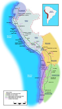 A map of the Inca road system. (View Larger)