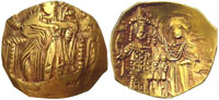 A gold hyperpyron, depicting, on the obverse, a regal Christ, and on the reverse, Emperor John III, crowned by the Virgin Mary. (View Larger)