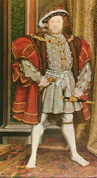 In 1536, King Henry VIII formally disbands all monasteries in his realm and seizes their property, including thousands of books and manuscripts, most of which were subsequently lost or destroyed.  (View Larger)
