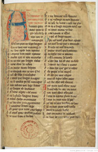 Folio 1r of Fr. 1573 at the Bibliotheque Nationale, the earliest extant copy of 'Le Roman de la Rose.' (View Larger)