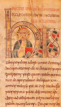 The oldest known historiated initial, found in the St. Petersurg Bede, also known as the Leningrad Bede.
