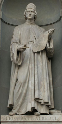 A statue of Leon Lattista Alberti in the Uffizi museum. (View Larger)