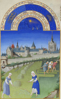 Folio 64v of Les Très Riches Heures, for the month of June. (View Larger)