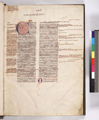 A heavily glossed manuscript of Libri Quattuor Sententiarum by Peter Lombard, whose usage of margin notes for citations is considered by some to be the direct antecedent of modern scholarly footnotes. (View Larger)