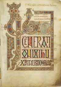 Folio 27r of the Lindisfarne Gospels. (View Larger)