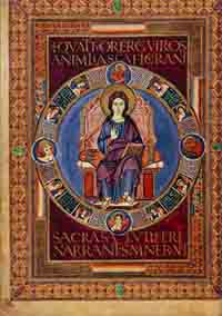 Folio 72v of the Codex Aureus of Lorsch, depicting Christ. (View Larger)