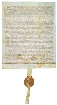 A 1297 copy of the Magna Carta. (View Larger)