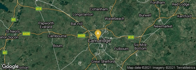 Detail map of Cambridge, England, United Kingdom