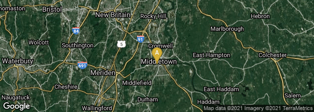 Detail map of Middletown, Connecticut, United States